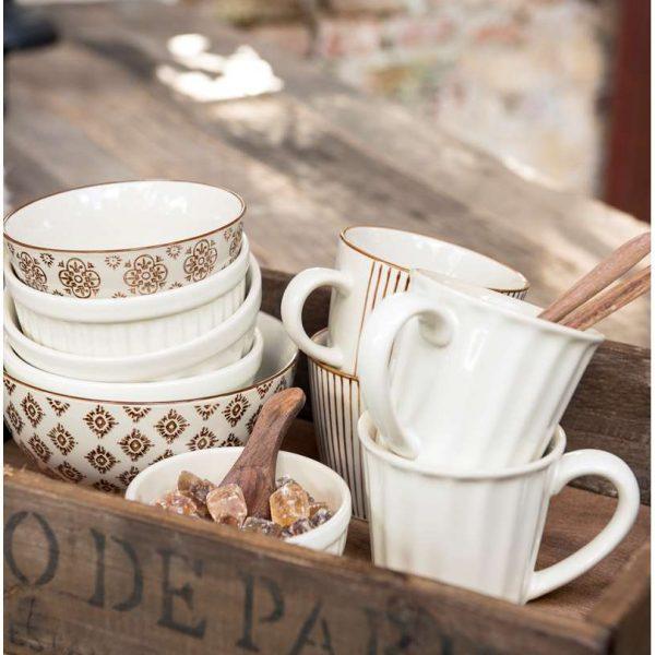 mynte kitchen indai ceramic IBLaursen plate mug latte musli bowl butter cream white 2078-82