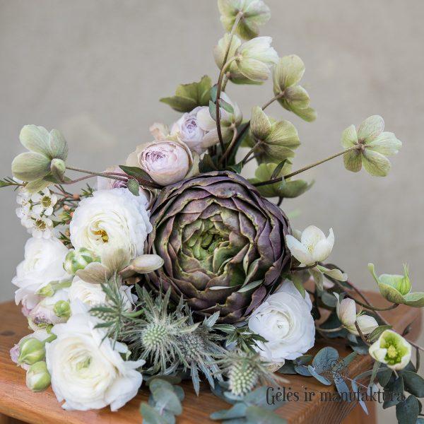 cynara artišokas bridal bouquet nuotakos puokštė geles ir manufaktura