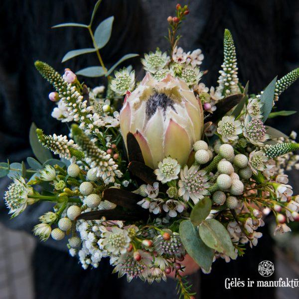 bouquet bridal gėlės ir manufaktūra puokštė nuotakos winter protea