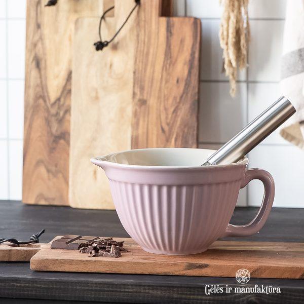 batter bowl mynte english rose dubenėlis rožinis gėlės ir manufaktūra tableware iblaursen 2075-06