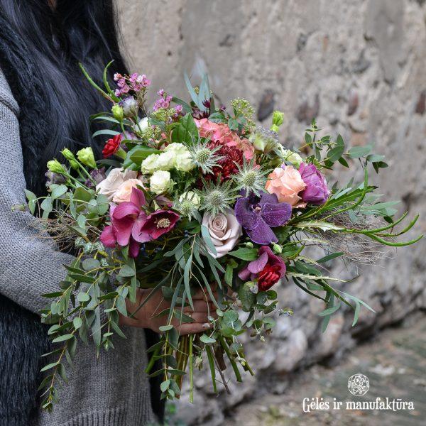 bouquet flowers puokštė purple gėlės ir manufaktūra violet
