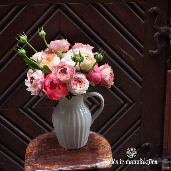 bridal bouquet roses rosa nuotakos puokste gėlės ir manufaktūra