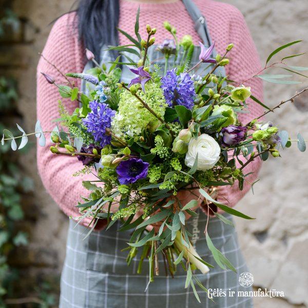 bouquet flowers puokštė blue mėlyna gėlės ir manufaktūra