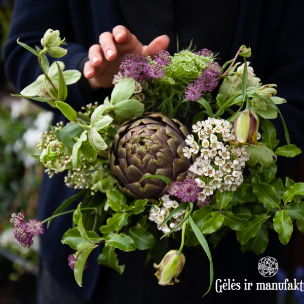 bouquet artichoke geles ir manufaktura bouquet flowers puokste artisokas