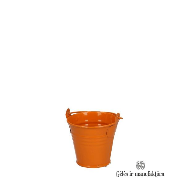 Zinc Bucket vazonas kibiras kibirėlis orange oranžinis gėlės ir manufaktūra