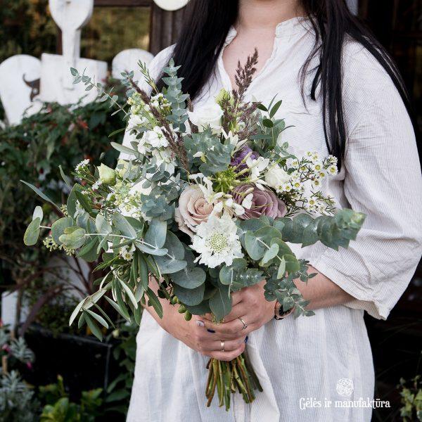 alyvmedis eukaliptas nuotakos puokštė bridal bouquet boho romantic gėlės ir manufaktūra