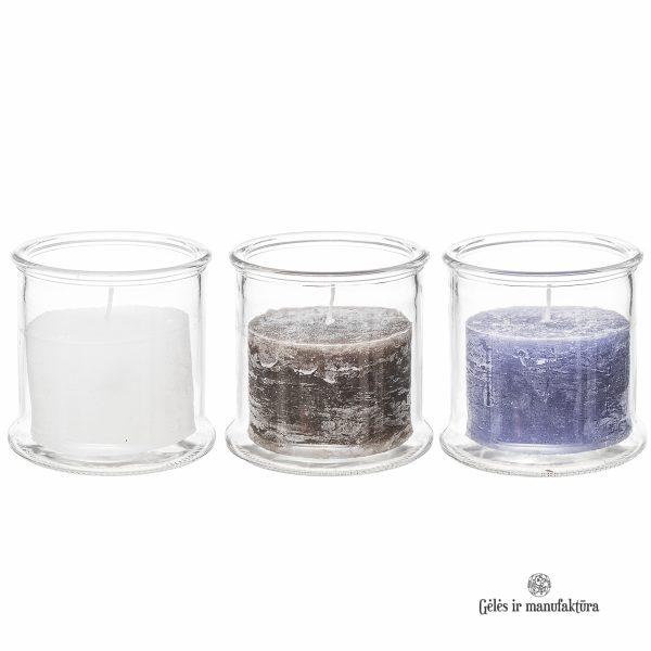 žvakidė vaza candleholder glass candle rustic gėlės ir manufaktūra TT 309973