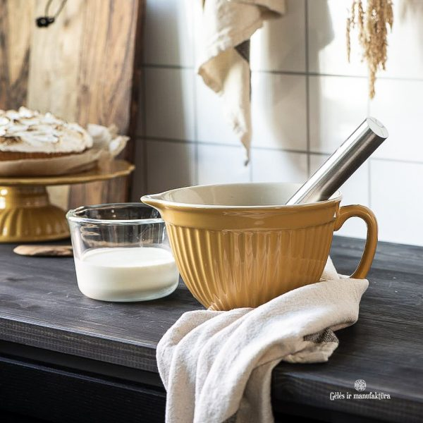bowl batter mustard yellow mynte dubuo plakimui dubenėlis plate tortinė geltona garstyčiių spalvos gėlės ir manufaktūra iblaursen 2075-03