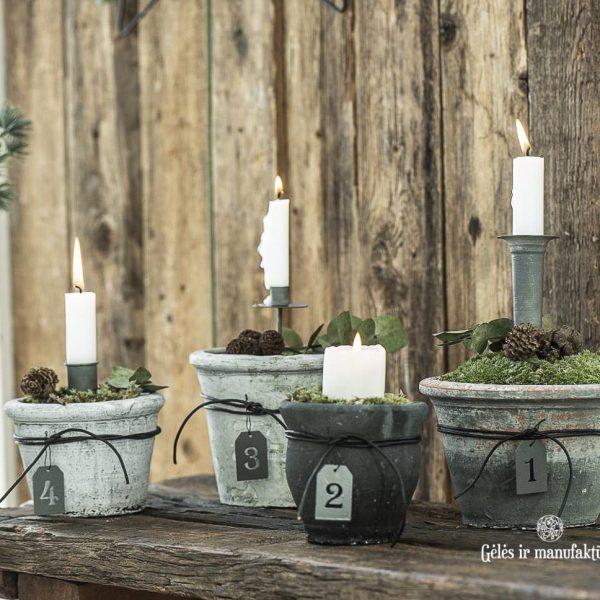 christmas rustic candle spear holder zinc kaledos eglutės kalėdinis gėlės ir manufaktūra iblaursen 57003-25