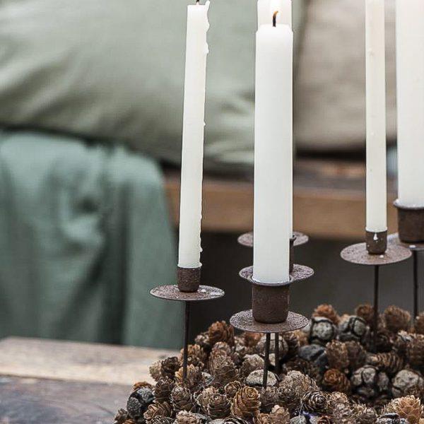 christmas rustic taper candle spear holder kaledos eglutės kalėdinis gėlės ir manufaktūra iblaursen 57004-14