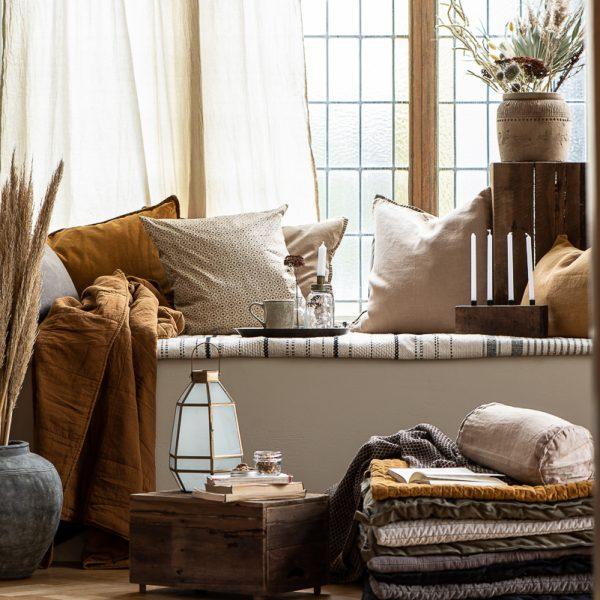 cushion cover beige pagalvės užvalkaliukas rudos flowers spalvos brown gėlės ir manufaktūra 1904-14 iblaursen mustard