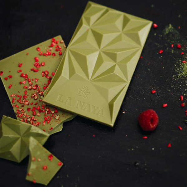 šokoladas matcha raspberries arbata avietės gėlės ir manufaktūra la naya ekologiškas tea chocolate