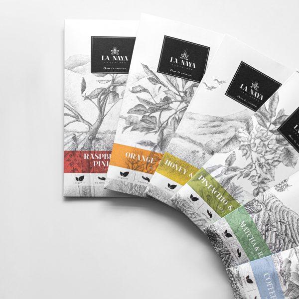 šokoladas rinkinys organinis gėlės ir manufaktūra la naya ekologiškas chocolate