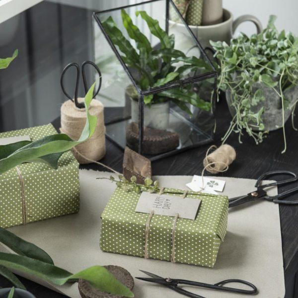 gift wrapping paper herbal green dots dovanu pakavimo popierius žalias su žirniukais dovana gėlės ir manufaktūra iblaursen