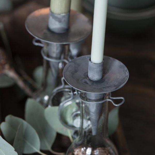 candle taper žvakė žvakelė žalia light green plona gėlės ir manufaktura iblaursen nestandartinė