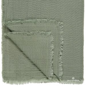 throw double weaving chalk green dusty žalsvos spalvos lovatiesė staltiesė gėlės ir manufaktūra žalias 6865-59 iblaursen užtiesalas pledas