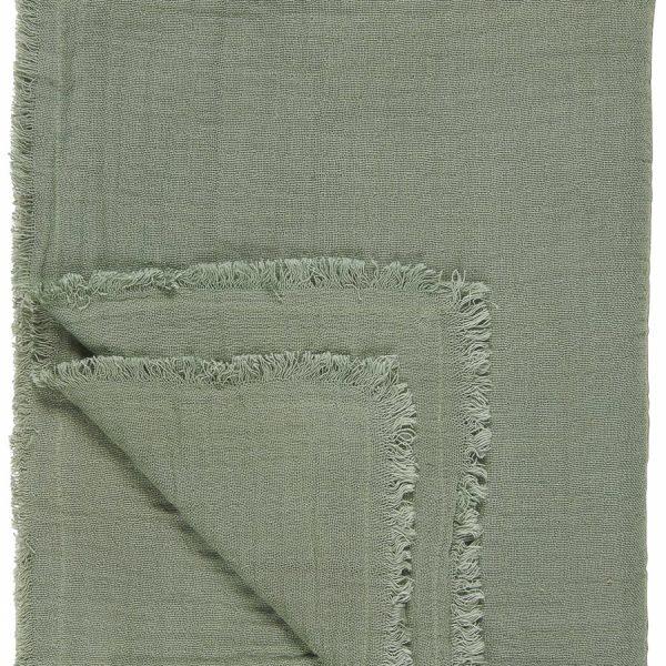 throw double weaving chalk green dusty žalsvos spalvos lovatiesė staltiesė gėlės ir manufaktūra žalias 6865-59 iblaursen užtiesalas pledas