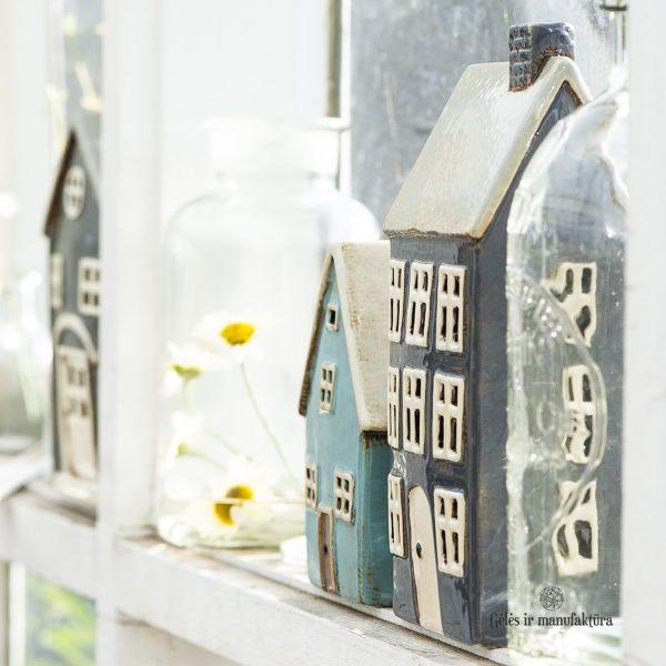 žvakide keramikinė namukas keramika candleholder house ceramic Gėlės ir manufaktūra 2760-23 iblaursen