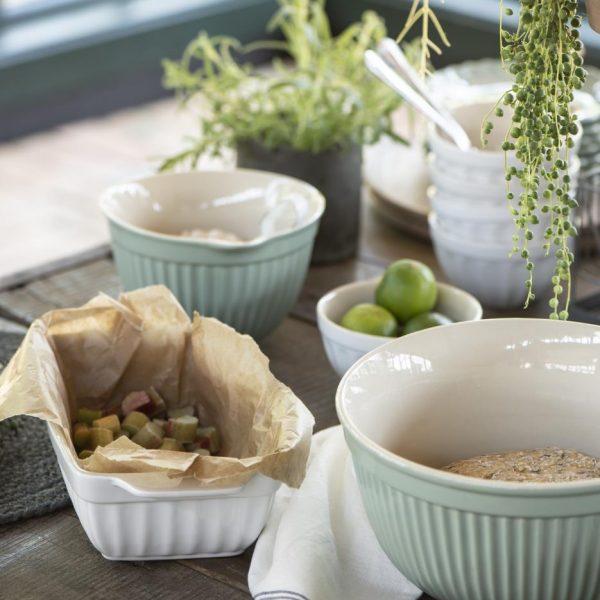 batter bowl indas plakimui mynte dusty green tea žalios arbatos žalsvos spalvos gėlės ir manufaktūra iblaursen 2075-10