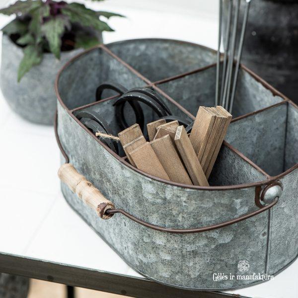 metalinis krepšys dėžė su skyreliais basket metal 6 rooms su rankena wooden handle gėlės ir manufaktūra iblaursen 5639-18