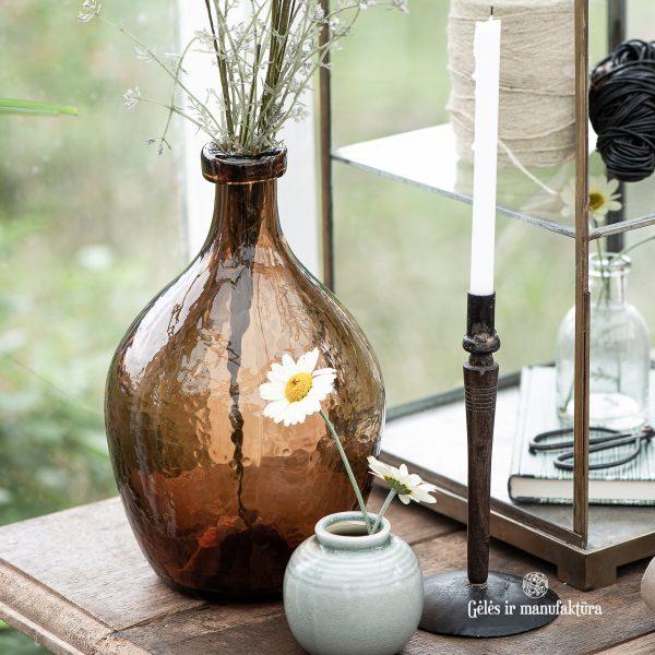 candleholder unika tapper candle rustic metalinė žvakidė plonai žvakei sendinta gėlės ir manufaktūra